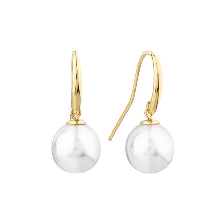 Drop Earrings With South Sea Pearl In 14kt Yellow Gold