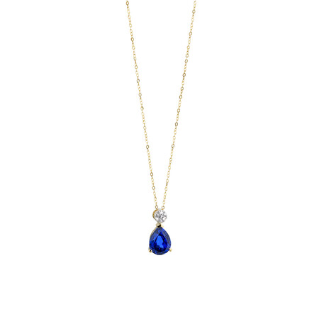Pendant with Created Blue Sapphire & Diamonds in 10kt Yellow & Rose Gold
