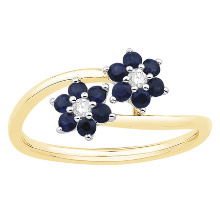 Ring with Sapphire & Diamond in 10kt Yellow Gold