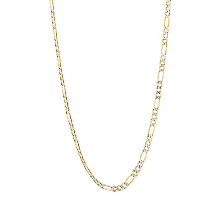 "45cm (18"") Figaro Chain in 10kt Yellow & White Gold"
