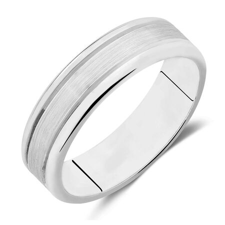 Men's Wedding Band in 10kt White Gold