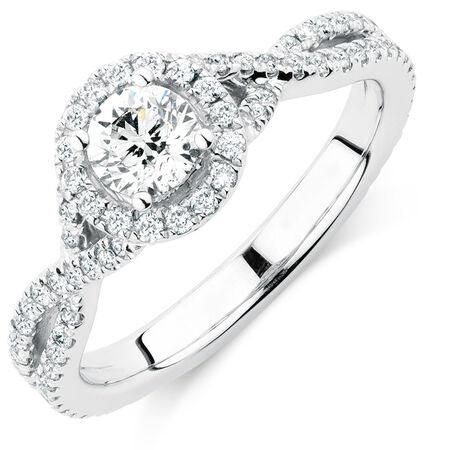 Sir Michael Hill Designer GrandAdagio Engagement Ring with 1.05 Carat TW of Diamonds in 14kt White Gold