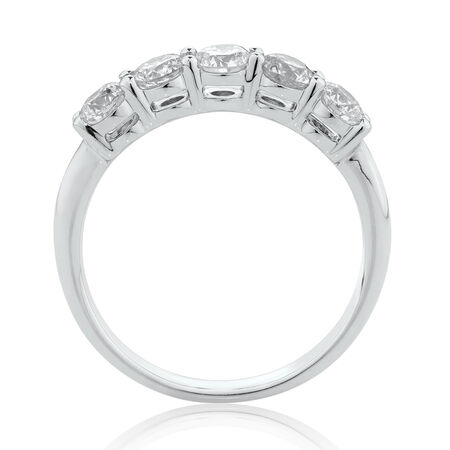 Evermore5 Stone Wedding Band with 1 Carat TW of Diamonds in 14ktWhite Gold