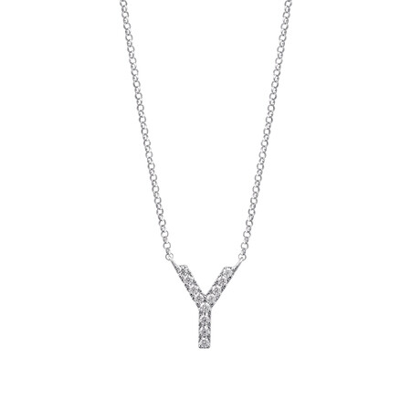 """""""Y"""" Initial necklace with 0.10 Carat TW of Diamonds in 10kt White Gold"""