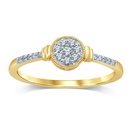 Cluster Ring with 0.12 Carat TW of Diamonds in 10kt Yellow Gold