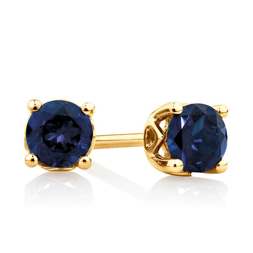 4mm Stud Earrings with Created Sapphire in 10kt Yellow Gold