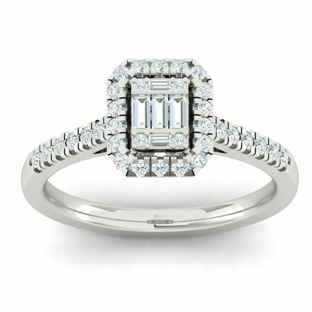 Cluster Ring with 1/2 Carat TW of Diamonds in 10kt White Gold