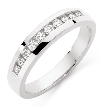 Men's Wedding Band with 1/2 Carat TW of Diamonds in 10kt White Gold