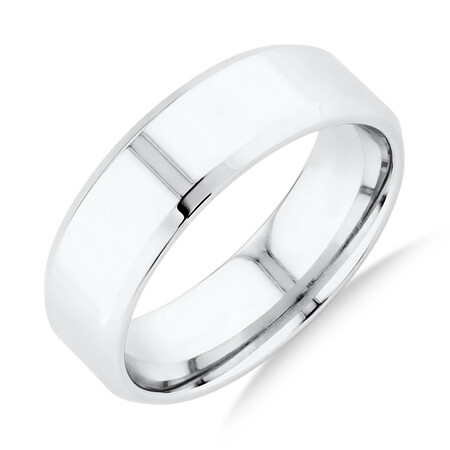 Flat Bevelled Wedding Band in 10kt White Gold
