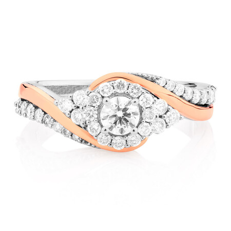 Engagement Ring with 3/4 Carat TW of Diamonds in 14kt White & Rose Gold