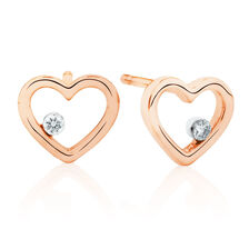 Heart Stud Earrings With Diamonds In 10kt Rose Gold