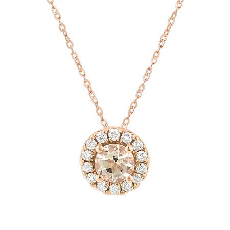 Pendant with Morganite & 1/7 Carat TW of Diamonds in 10kt Rose Gold