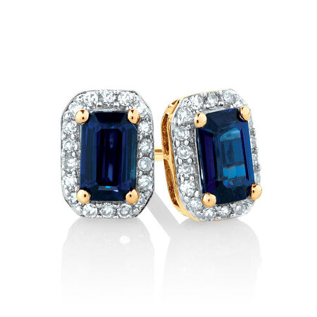 Stud Earrings with Sapphire & Diamonds in 10kt Yellow Gold