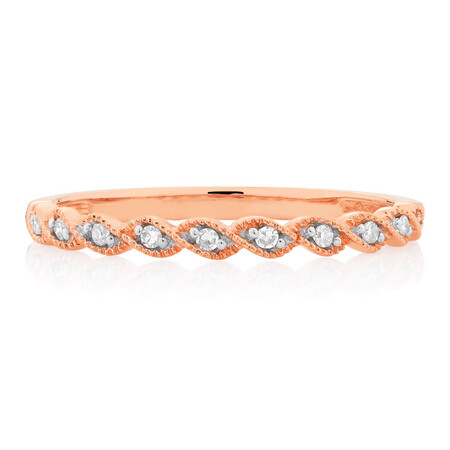 Wedding Band with Diamonds in 10kt Rose Gold
