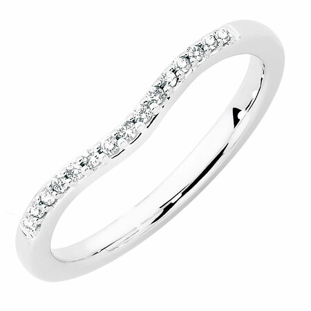 Wedding Band with 0.10 Carat TW of Diamonds in 18kt White Gold