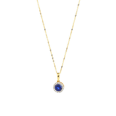 Pendant with Created Sapphire & Diamonds in 10kt Yellow Gold