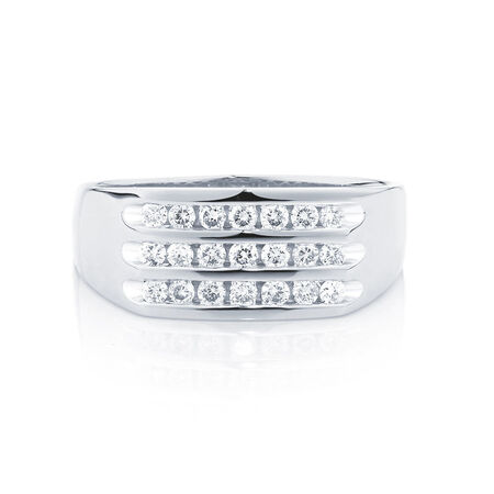 Men's Ring with 1/2 of Diamonds in 10kt White Gold