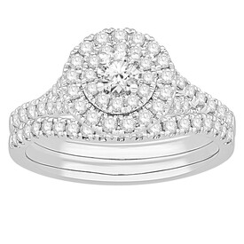 Bridal Set with 1.00 Carat TW of Diamonds in 18kt White Gold