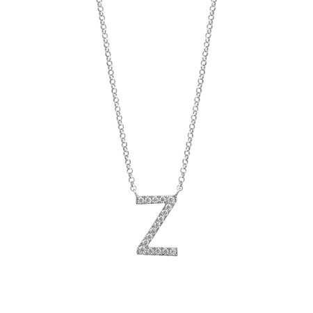 """""""Z"""" Initial necklace with 0.10 Carat TW of Diamonds in 10kt White Gold"""