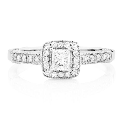 Engagement Ring with 0.45 Carat TW of Diamonds in 14kt White Gold