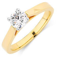 Certified Solitaire Engagement Ring with a 0.69 Carat Diamond in 14kt Yellow & White Gold