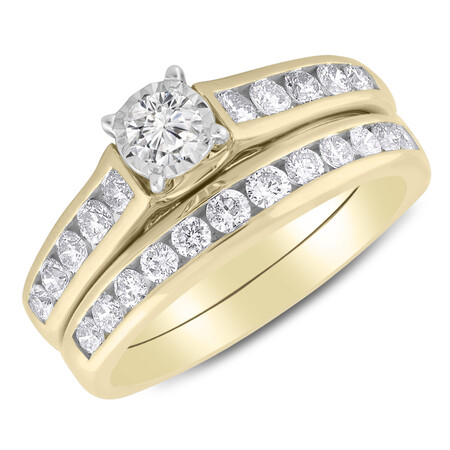 Bridal Set with 1.00 Carat TW of Diamonds in 14kt Yellow & White Gold