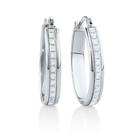 22mm Oval Glitter Hoop Earrings In 10kt White Gold