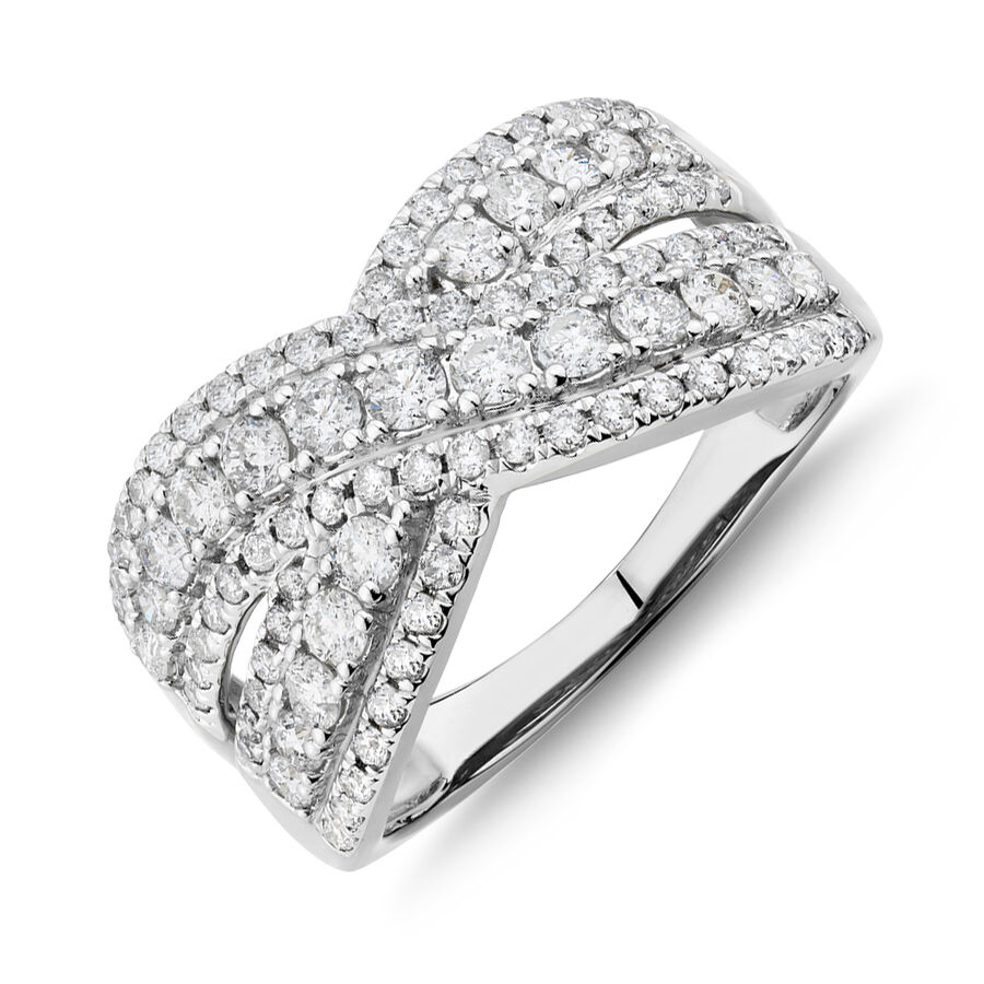 Crossover Ring With 1.25 Carat TW of Diamonds In 10kt White Gold