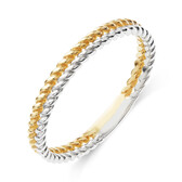 Double Row Twist Ring in 10kt Yellow & White Gold