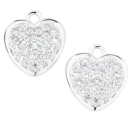 White Cubic Zirconia Heart Earring Drops