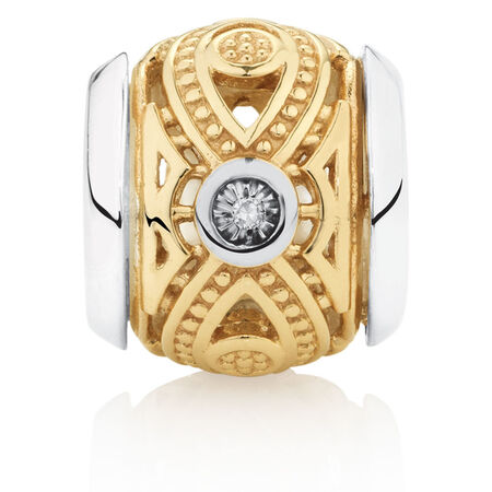 Diamond Set Marquise Charm in 10kt Yellow Gold & Sterling Silver