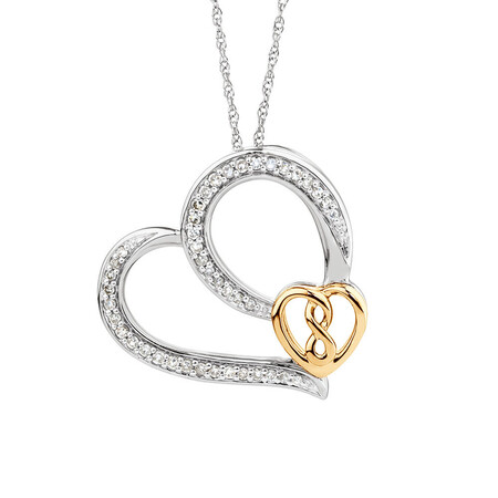 Infinitas Heart Pendant with 0.20 Carat TW of Diamonds in Sterling Silver & 10kt Yellow Gold