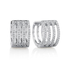 Huggie Earrings with 0.37 Carat TW of Diamonds in 10kt White Gold