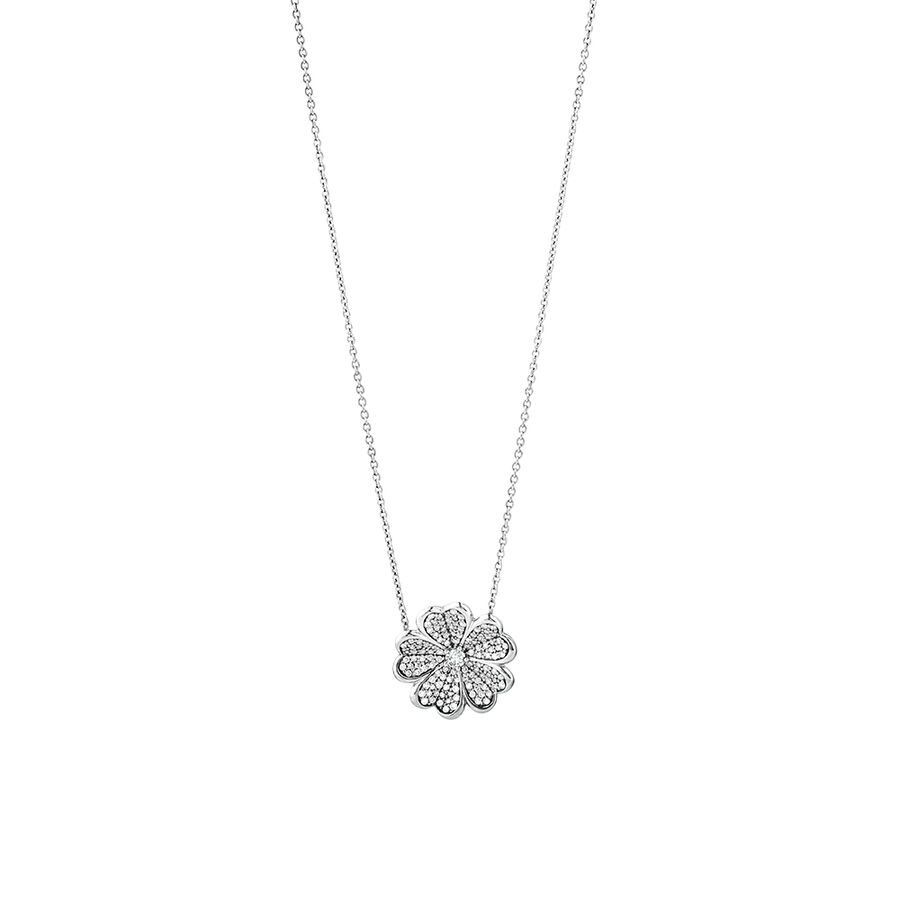 Flower Necklace with 0.25 Carat TW of Diamonds in Sterling Silver
