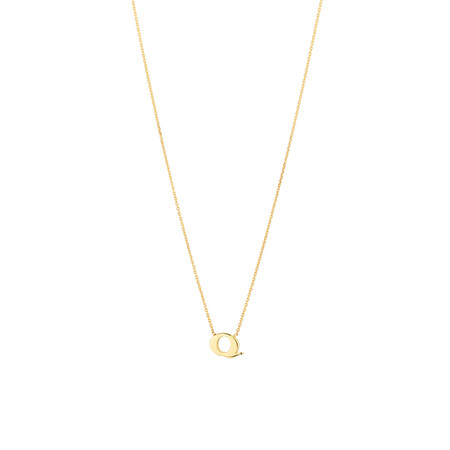 """""""Q"""" Initial Necklace in 10kt Yellow Gold"""
