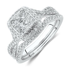 e8439f0bbb58f5 Bridal Set with 1 Carat TW of Diamonds in 14kt White Gold ...