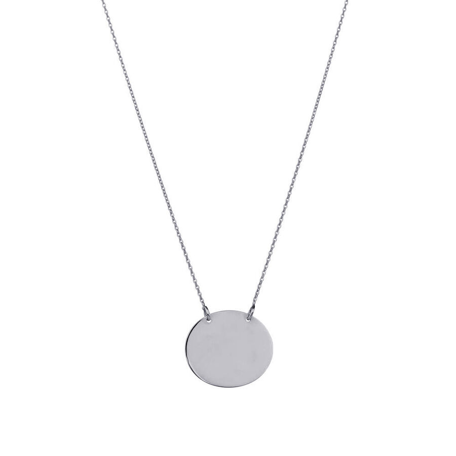 Oval Disc Necklace in 10kt White Gold