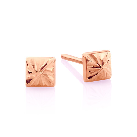 Pyramid Stud Earrings in 10kt Rose Gold