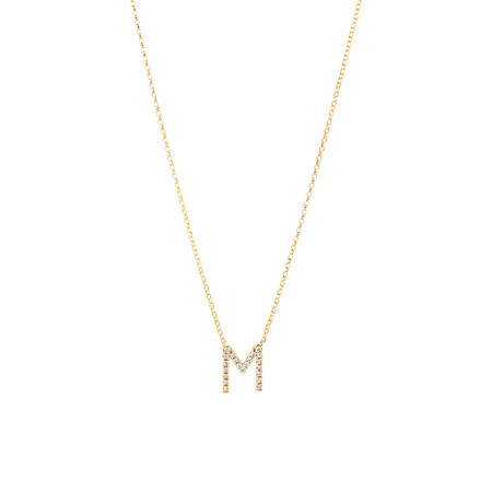 """""""M"""" Initial Necklace with 0.10 Carat TW of Diamonds in 10kt Yellow Gold"""
