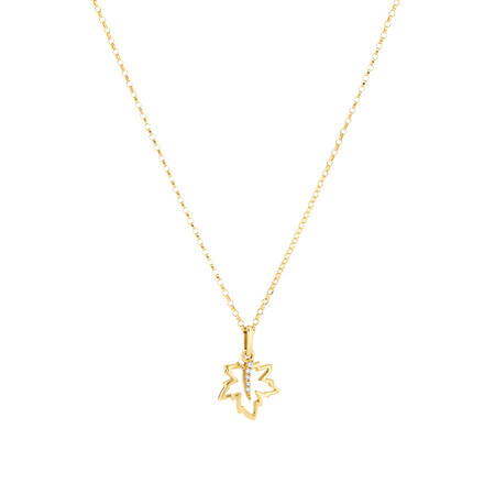 Maple Leaf Pendant with Diamonds In 10kt Yellow Gold