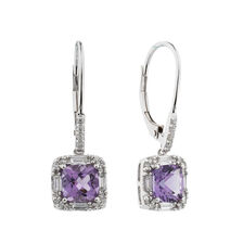 Earrings with Amethyst & 0.30 Carat TW of Diamonds in 10kt White Gold