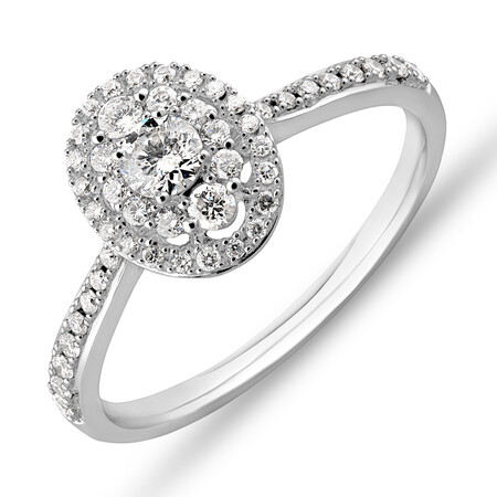 Halo Engagement Ring with 0.45 Carat TW of Diamonds in 10kt White Gold