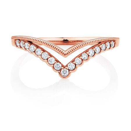 Evermore Chevron Wedding Band with 0.18 Carat TW of Diamonds in 10kt Rose Gold