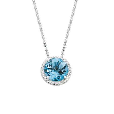 Online Exclusive - Pendant with Blue Topaz & 1/4 Carat TW of Diamonds in 10kt White Gold