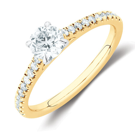 Solitaire Engagement Ring with 1/2 Carat TW of Diamonds in 14kt Yellow & White Gold