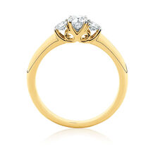Three Stone Engagement Ring with 1/2 Carat TW of Diamonds in 10kt Yellow Gold