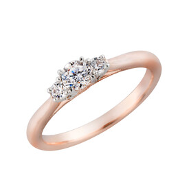 Three Stone Ring with 0.34 Carat TW of Diamonds in 10kt White & Rose Gold