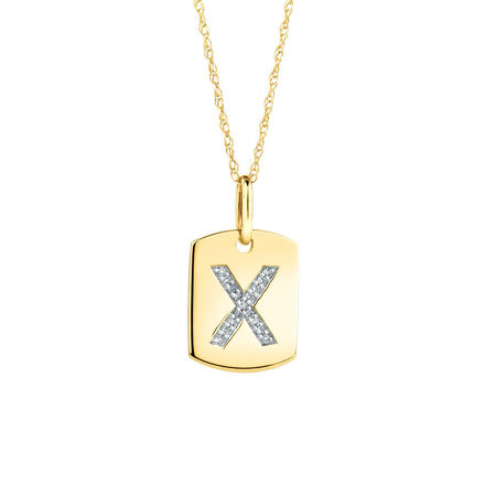 "X"" Initial Rectangular Pendant With Diamonds In 10kt Yellow Gold"