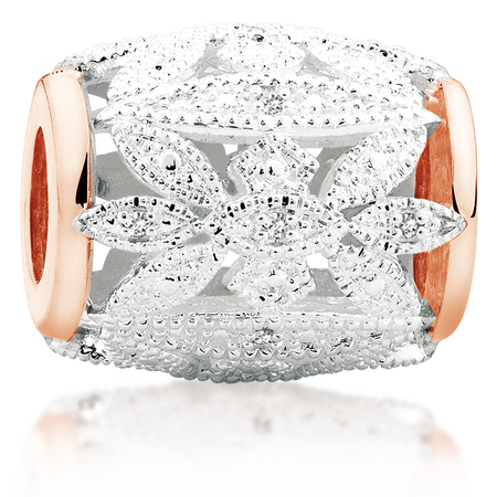 Diamond Set, 10kt Rose Gold & Sterling Silver Art Deco Charm