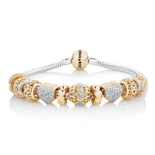 Starter Charm Bracelet with 0.57 Carat TW of Diamonds in 10kt Yellow Gold & Sterling Silver